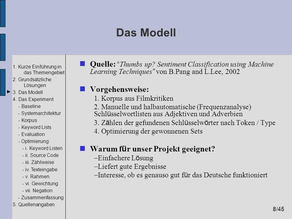 8/45 1. Kurze Einführung in das Themengebiet 2. Grundsätzliche Lösungen 3. Das Modell 4. Das Experiment - Baseline - Systemarchitektur - Korpus - Keyw