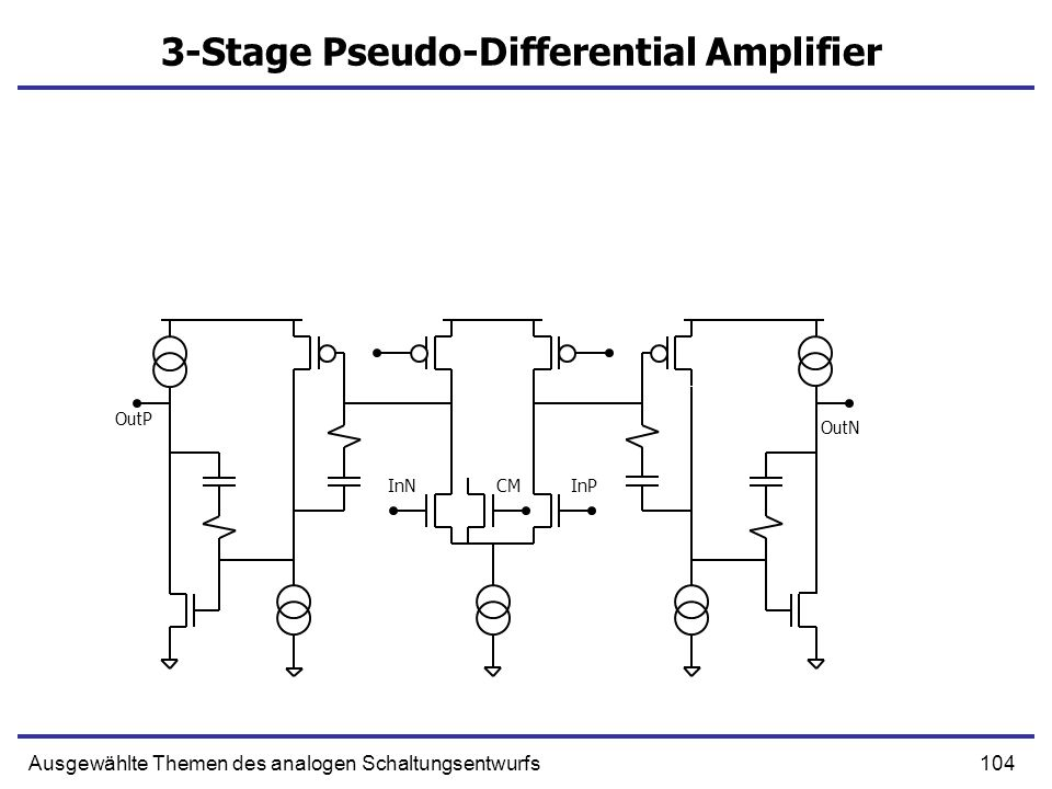 104Ausgewählte Themen des analogen Schaltungsentwurfs 3-Stage Pseudo-Differential Amplifier InPInNCM OutN OutP