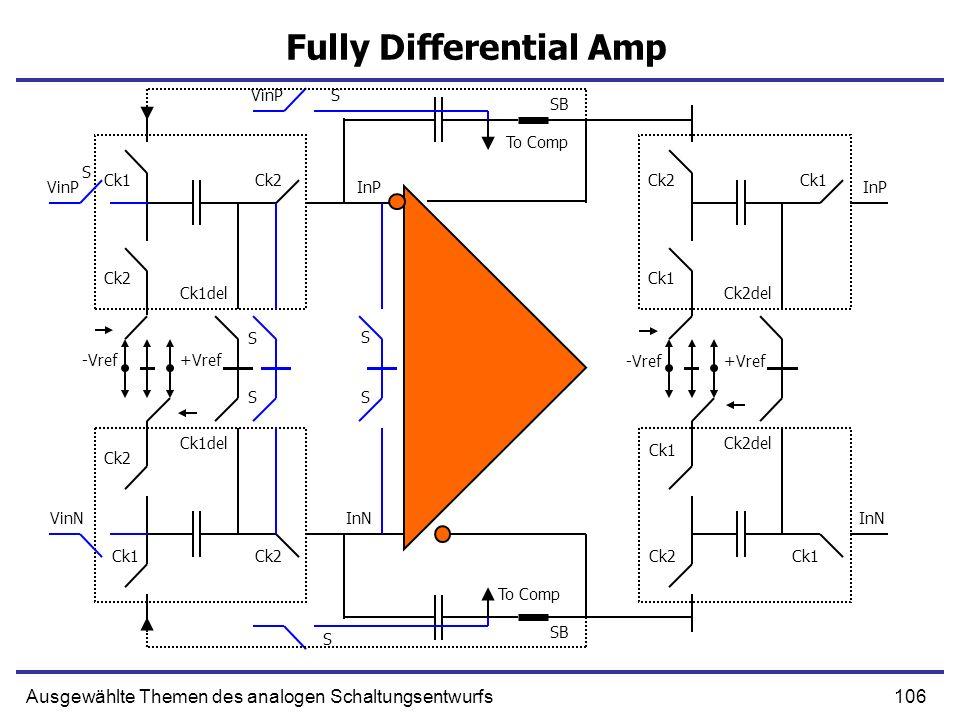 106Ausgewählte Themen des analogen Schaltungsentwurfs Fully Differential Amp VinP Ck1 Ck2 -Vref +Vref Ck2 Ck1del VinP S S SB InP Ck2 Ck1 Ck2del S InP