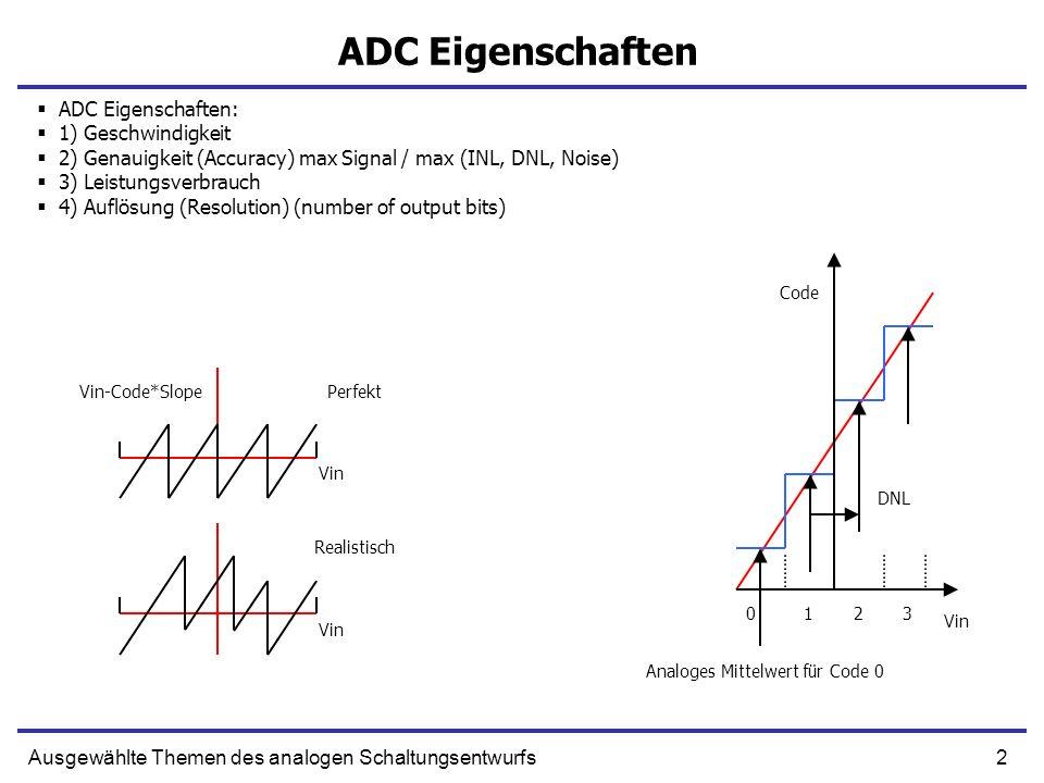 2Ausgewählte Themen des analogen Schaltungsentwurfs ADC Eigenschaften ADC Eigenschaften: 1) Geschwindigkeit 2) Genauigkeit (Accuracy) max Signal / max