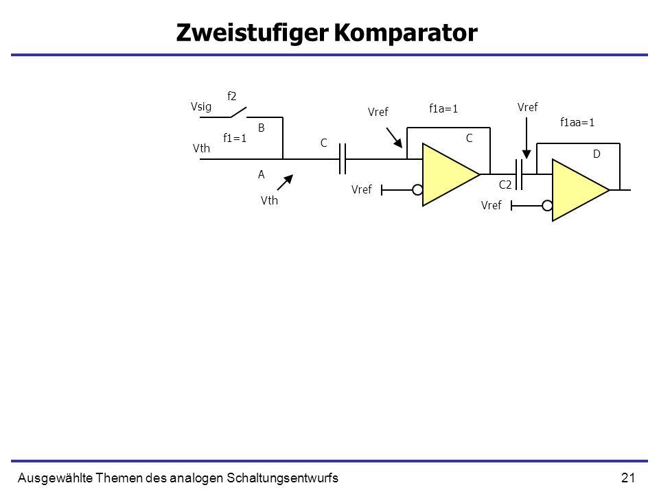 21Ausgewählte Themen des analogen Schaltungsentwurfs Zweistufiger Komparator Vref f1aa=1 Vref Vsig Vth f1a=1 f1=1 f2 C Vref Vth A B C C2 D