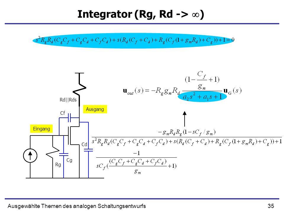 35Ausgewählte Themen des analogen Schaltungsentwurfs Integrator (Rg, Rd -> ) Eingang Ausgang Rg Rd||Rds Cg Cf Cd