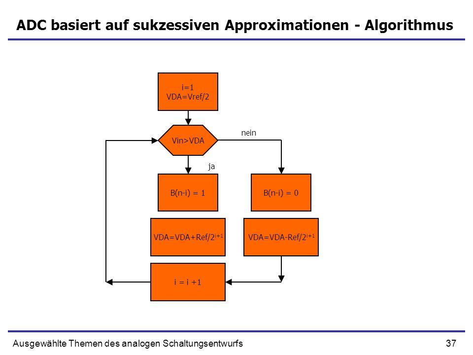 37Ausgewählte Themen des analogen Schaltungsentwurfs ADC basiert auf sukzessiven Approximationen - Algorithmus i=1 VDA=Vref/2 VDA=VDA+Ref/2 i+1 VDA=VD