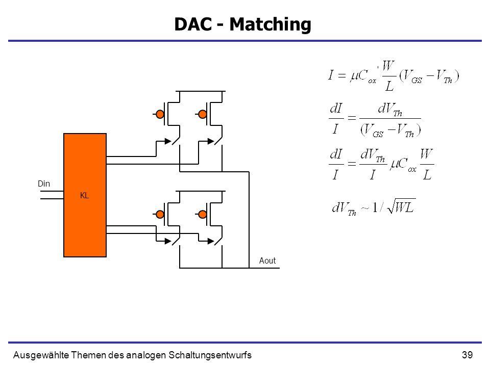 39Ausgewählte Themen des analogen Schaltungsentwurfs DAC - Matching KL Din Aout
