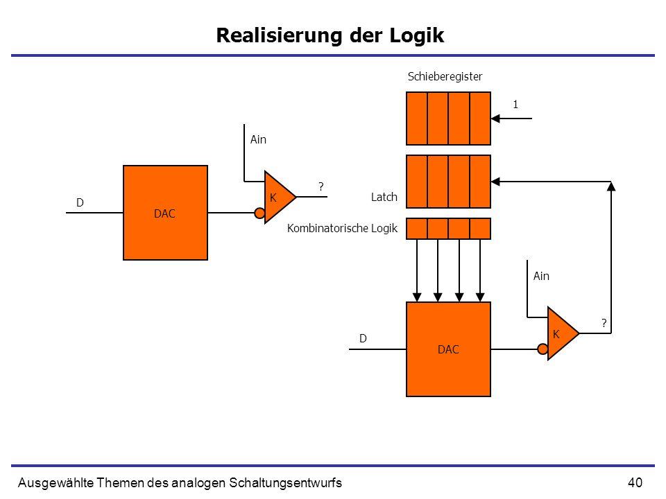 40Ausgewählte Themen des analogen Schaltungsentwurfs Realisierung der Logik DAC K Ain D ? DAC K Ain D ? 1 Schieberegister Latch Kombinatorische Logik