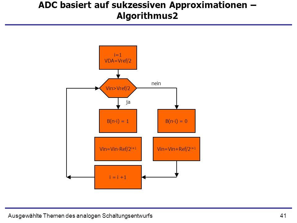 41Ausgewählte Themen des analogen Schaltungsentwurfs ADC basiert auf sukzessiven Approximationen – Algorithmus2 i=1 VDA=Vref/2 Vin=Vin-Ref/2 i+1 Vin=V
