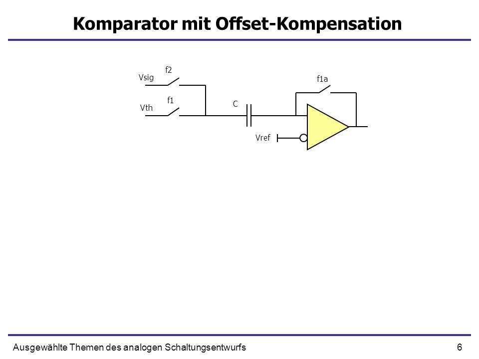 7Ausgewählte Themen des analogen Schaltungsentwurfs Komparator mit Offset-Kompensation Vref Vsig Vth f1a=1 f1=1 f2 C Vref+Voffs Vth Rückkopplung!