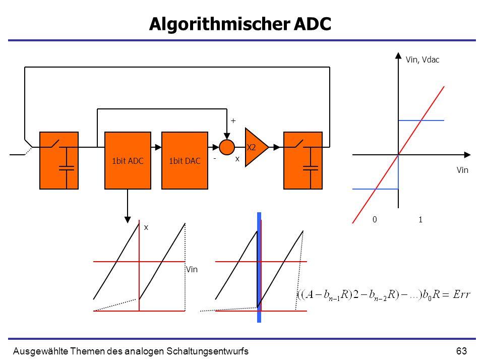 63Ausgewählte Themen des analogen Schaltungsentwurfs Algorithmischer ADC 1bit ADC1bit DAC 0 1 X2 x- + x Vin Vin, Vdac