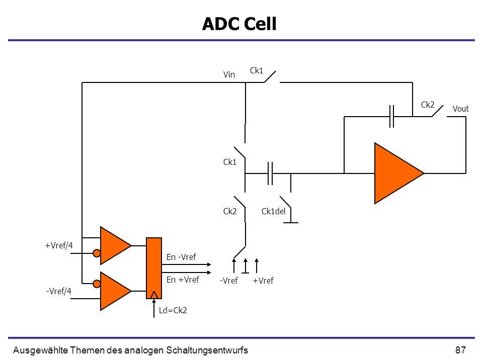 87Ausgewählte Themen des analogen Schaltungsentwurfs ADC Cell Vin Ck1 Ck1del Ck2 -Vref+Vref -Vref/4 +Vref/4 Ld=Ck2 En -Vref En +Vref Vout