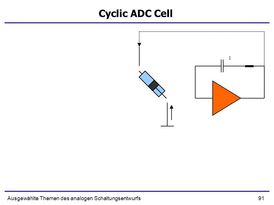 91Ausgewählte Themen des analogen Schaltungsentwurfs Cyclic ADC Cell 1