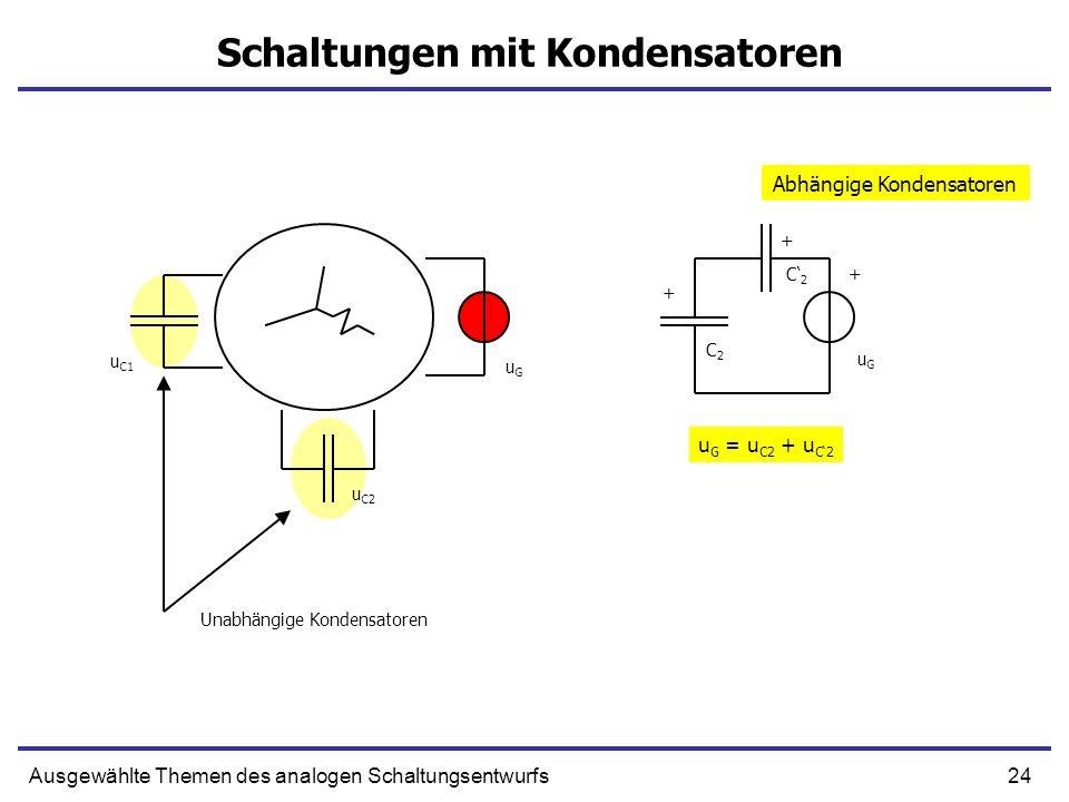 24Ausgewählte Themen des analogen Schaltungsentwurfs Schaltungen mit Kondensatoren u C1 u C2 uGuG + + C2C2 C2C2 uGuG + u G = u C2 + u C2 Abhängige Kondensatoren Unabhängige Kondensatoren