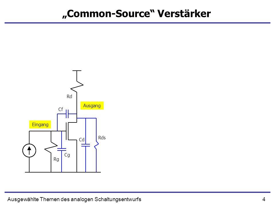 4Ausgewählte Themen des analogen Schaltungsentwurfs Common-Source Verstärker Eingang Ausgang Rg Rd Cg Cf Cd Rds