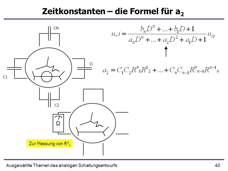 40Ausgewählte Themen des analogen Schaltungsentwurfs Zeitkonstanten – die Formel für a 2 C1 C2 Ci CN Ω Zur Messung von R N 1