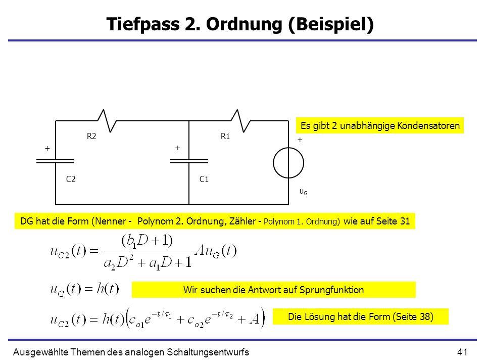 41Ausgewählte Themen des analogen Schaltungsentwurfs Tiefpass 2.