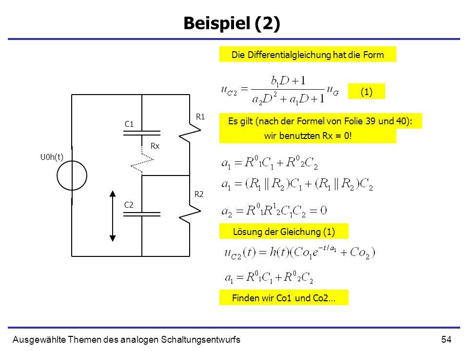 54Ausgewählte Themen des analogen Schaltungsentwurfs Beispiel (2) Die Differentialgleichung hat die Form Es gilt (nach der Formel von Folie 39 und 40): R1 R2 C1 C2 U0h(t) Rx wir benutzten Rx = 0.