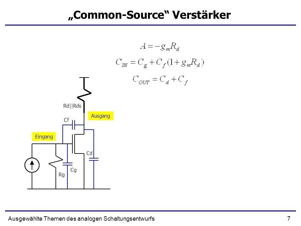 7Ausgewählte Themen des analogen Schaltungsentwurfs Common-Source Verstärker Eingang Ausgang Rg Rd||Rds Cg Cf Cd
