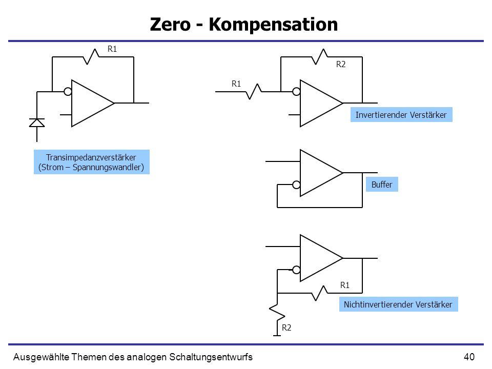 40Ausgewählte Themen des analogen Schaltungsentwurfs Zero - Kompensation Transimpedanzverstärker (Strom – Spannungswandler) Invertierender Verstärker Buffer Nichtinvertierender Verstärker R1 R2 R1 R2 R1