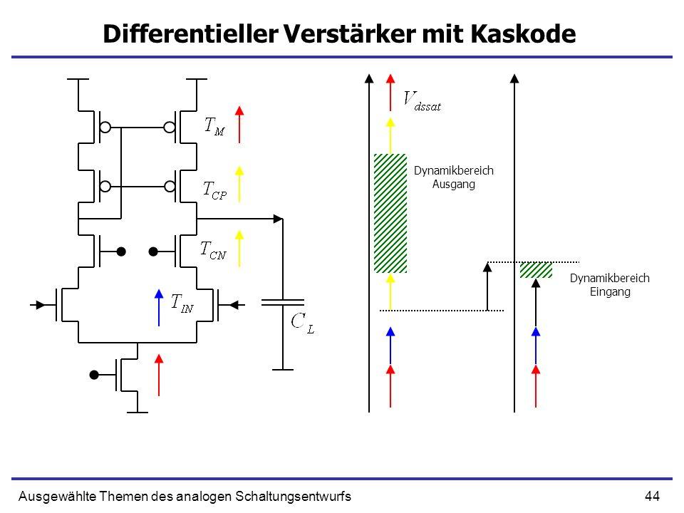 44Ausgewählte Themen des analogen Schaltungsentwurfs Differentieller Verstärker mit Kaskode Dynamikbereich Ausgang Dynamikbereich Eingang