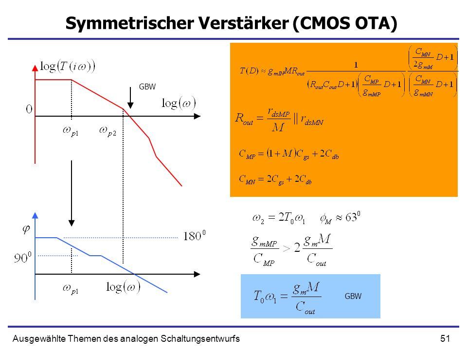 51Ausgewählte Themen des analogen Schaltungsentwurfs Symmetrischer Verstärker (CMOS OTA) GBW