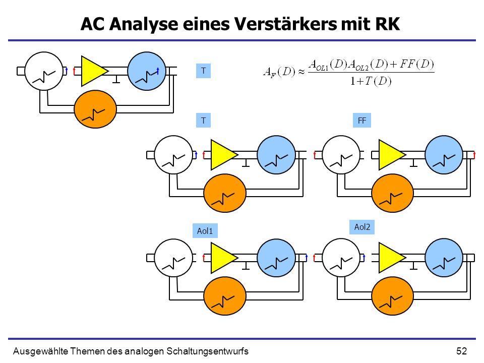 52Ausgewählte Themen des analogen Schaltungsentwurfs AC Analyse eines Verstärkers mit RK T TFF Aol2 Aol1