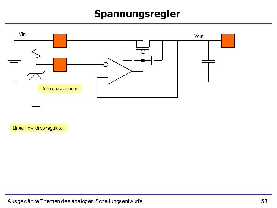 58Ausgewählte Themen des analogen Schaltungsentwurfs Spannungsregler Linear low-drop regulator Vin Vout Referenzspannung