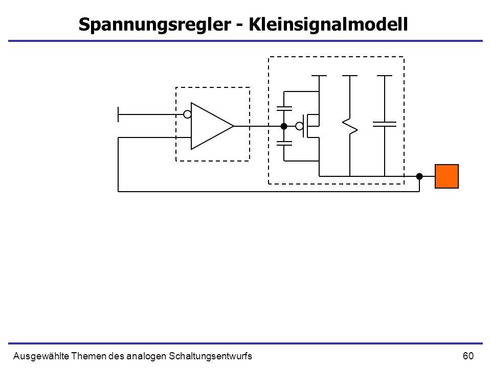 60Ausgewählte Themen des analogen Schaltungsentwurfs Spannungsregler - Kleinsignalmodell