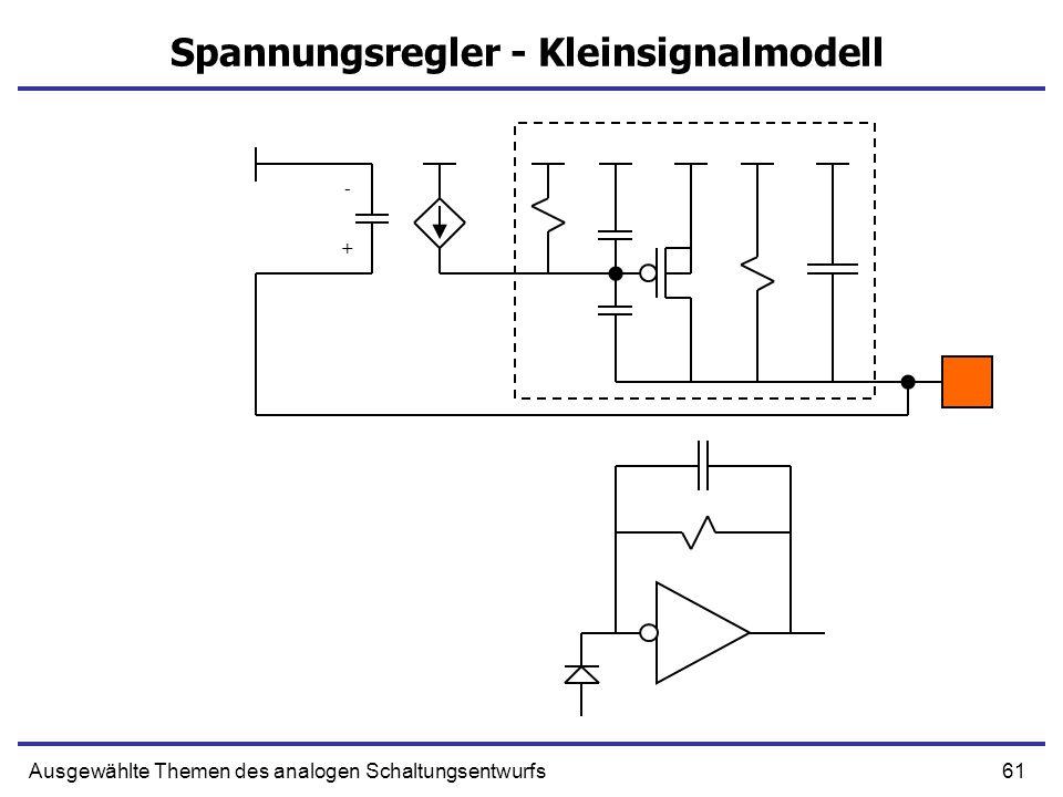 61Ausgewählte Themen des analogen Schaltungsentwurfs Spannungsregler - Kleinsignalmodell + -