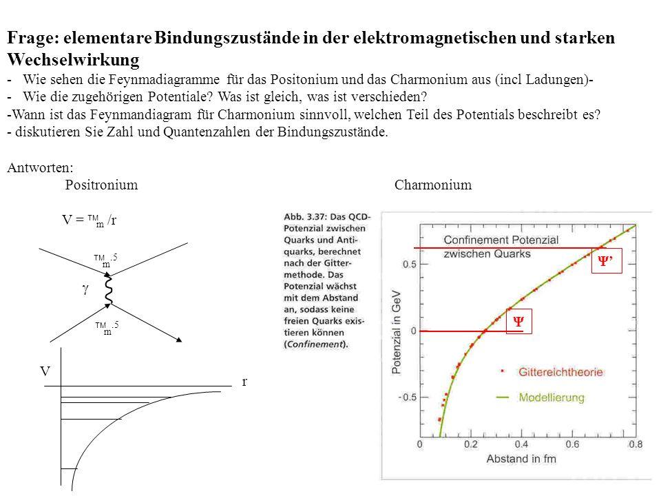 Frage: elementare Bindungszustände in der elektromagnetischen und starken Wechselwirkung - Wie sehen die Feynmadiagramme für das Positonium und das Charmonium aus (incl Ladungen)- - Wie die zugehörigen Potentiale.