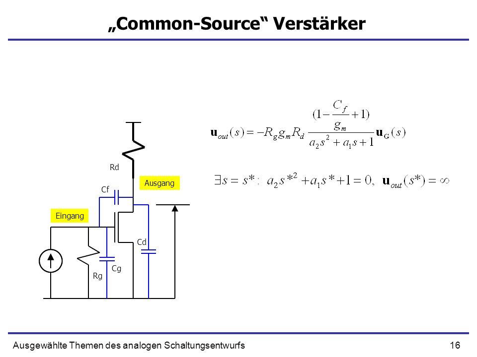 16Ausgewählte Themen des analogen Schaltungsentwurfs Common-Source Verstärker Eingang Ausgang Rg Rd Cg Cf Cd