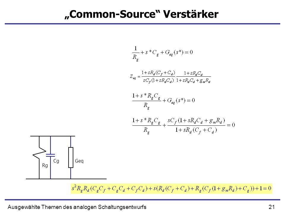 21Ausgewählte Themen des analogen Schaltungsentwurfs Common-Source Verstärker Cg Rg Geq
