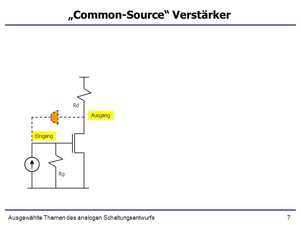 8Ausgewählte Themen des analogen Schaltungsentwurfs Common-Source Verstärker + g m U IN Cg Summe aller Kapazitäten zwischen Gate und Source Cf CdRd||Rds Rg - EingangAusgang Cg Cf Summe aller Kapazitäten zwischen Gate und Drain Cd Summe aller Kapazitäten zwischen Drain und Masse Eingang Ausgang Rg Rd Cg Cf Cd Rds