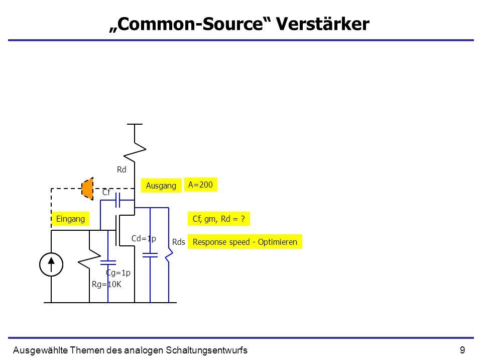 9Ausgewählte Themen des analogen Schaltungsentwurfs Common-Source Verstärker Eingang Ausgang Rg=10K Rd Cg=1p Cf Cd=1p Rds A=200 Cf, gm, Rd = ? Respons