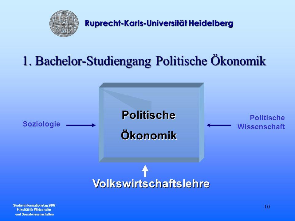 Studieninformationstag 2007 Fakultät für Wirtschafts- und Sozialwissenschaften Ruprecht-Karls-Universität Heidelberg 10 PolitischeÖkonomik Volkswirtsc