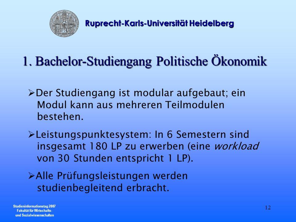 Studieninformationstag 2007 Fakultät für Wirtschafts- und Sozialwissenschaften Ruprecht-Karls-Universität Heidelberg 12 Der Studiengang ist modular au