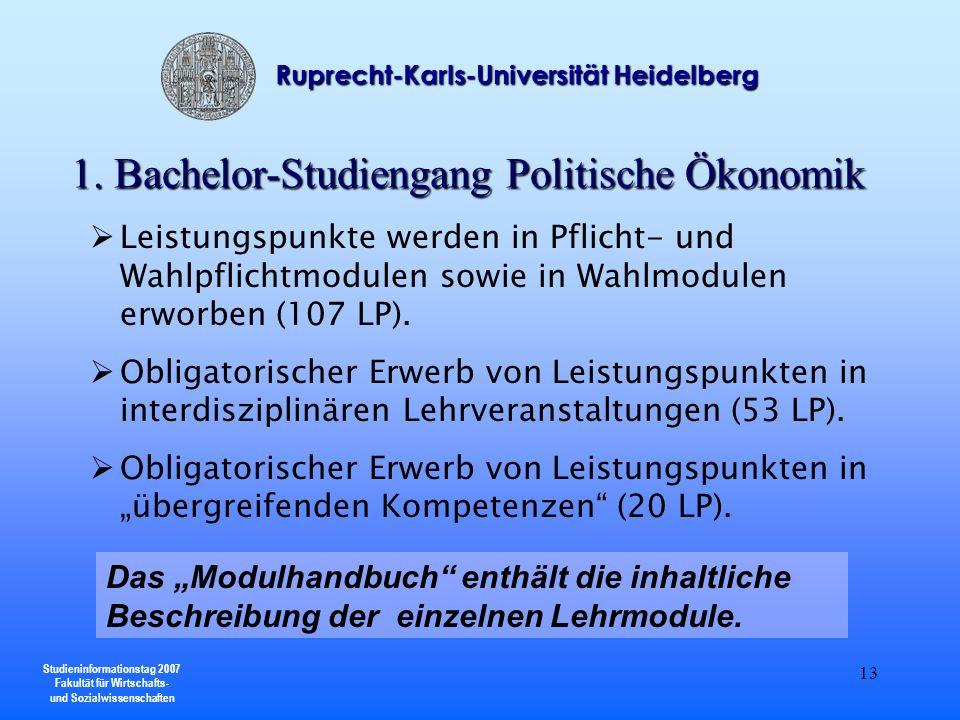 Studieninformationstag 2007 Fakultät für Wirtschafts- und Sozialwissenschaften Ruprecht-Karls-Universität Heidelberg 13 Leistungspunkte werden in Pfli