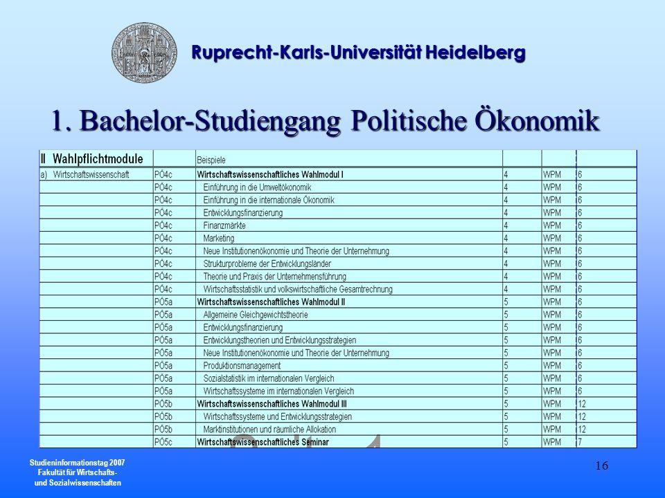 Studieninformationstag 2007 Fakultät für Wirtschafts- und Sozialwissenschaften Ruprecht-Karls-Universität Heidelberg 16 1. Bachelor-Studiengang Politi