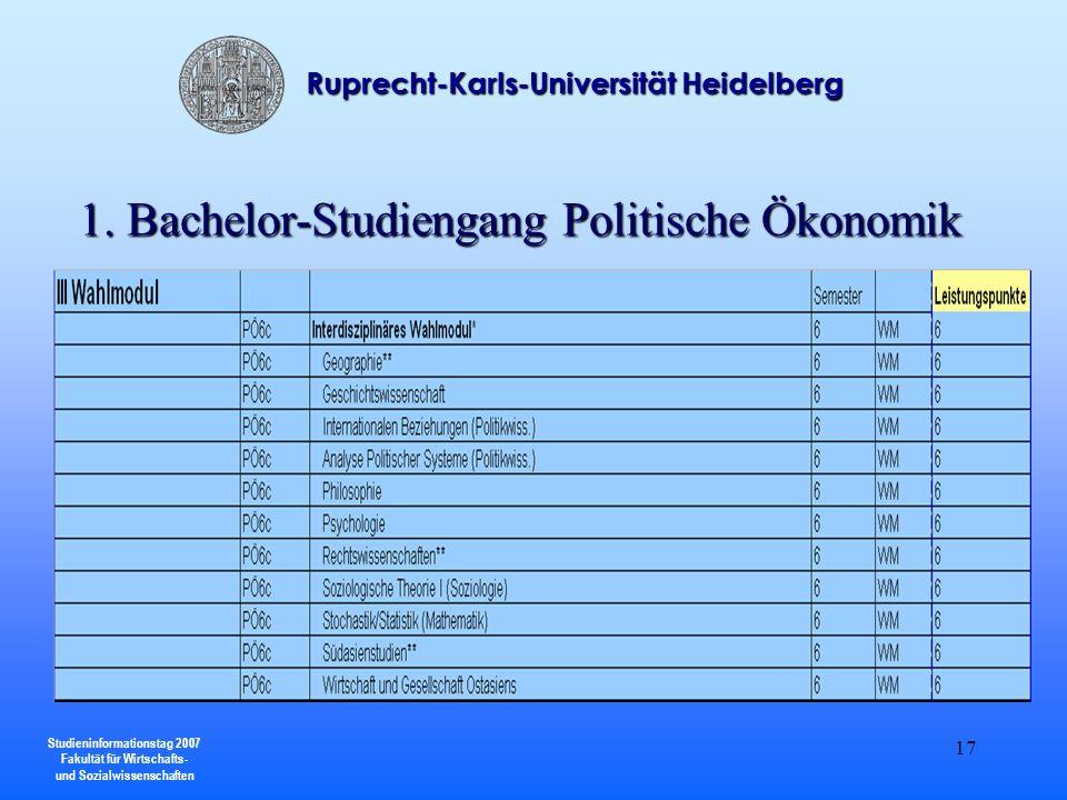 Studieninformationstag 2007 Fakultät für Wirtschafts- und Sozialwissenschaften Ruprecht-Karls-Universität Heidelberg 17 1. Bachelor-Studiengang Politi