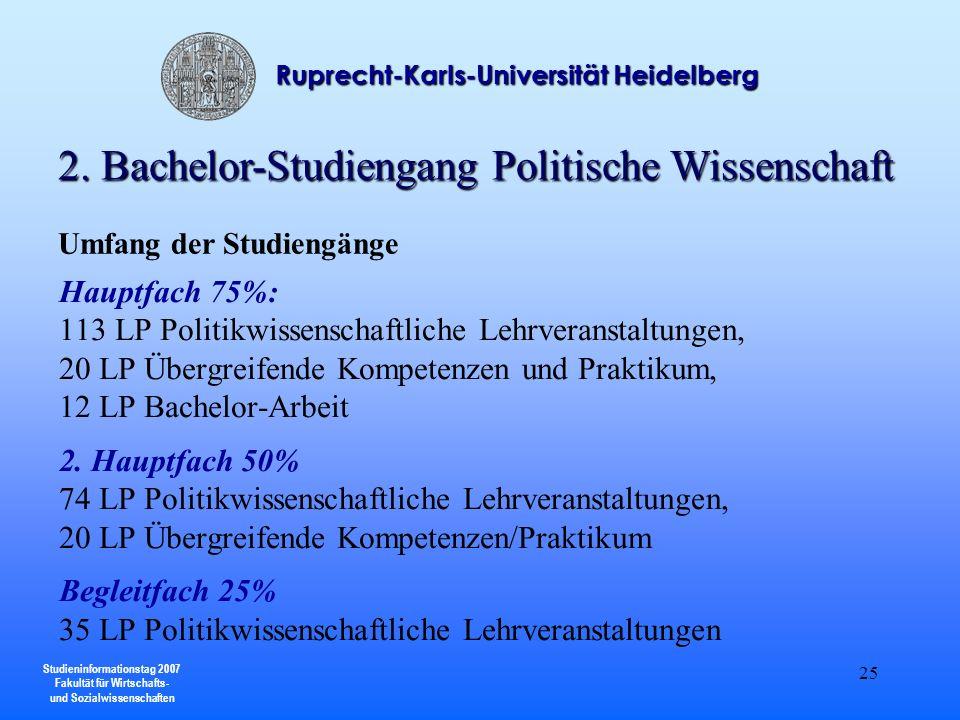 Studieninformationstag 2007 Fakultät für Wirtschafts- und Sozialwissenschaften Ruprecht-Karls-Universität Heidelberg 25 Umfang der Studiengänge Hauptf