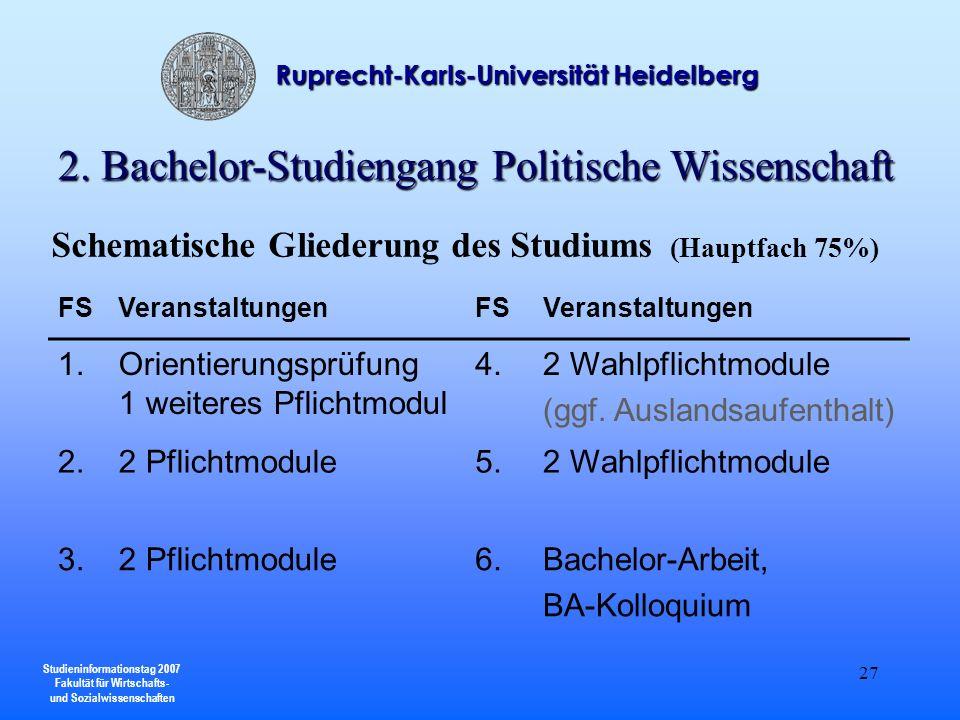 Studieninformationstag 2007 Fakultät für Wirtschafts- und Sozialwissenschaften Ruprecht-Karls-Universität Heidelberg 27 FSVeranstaltungenFSVeranstaltu
