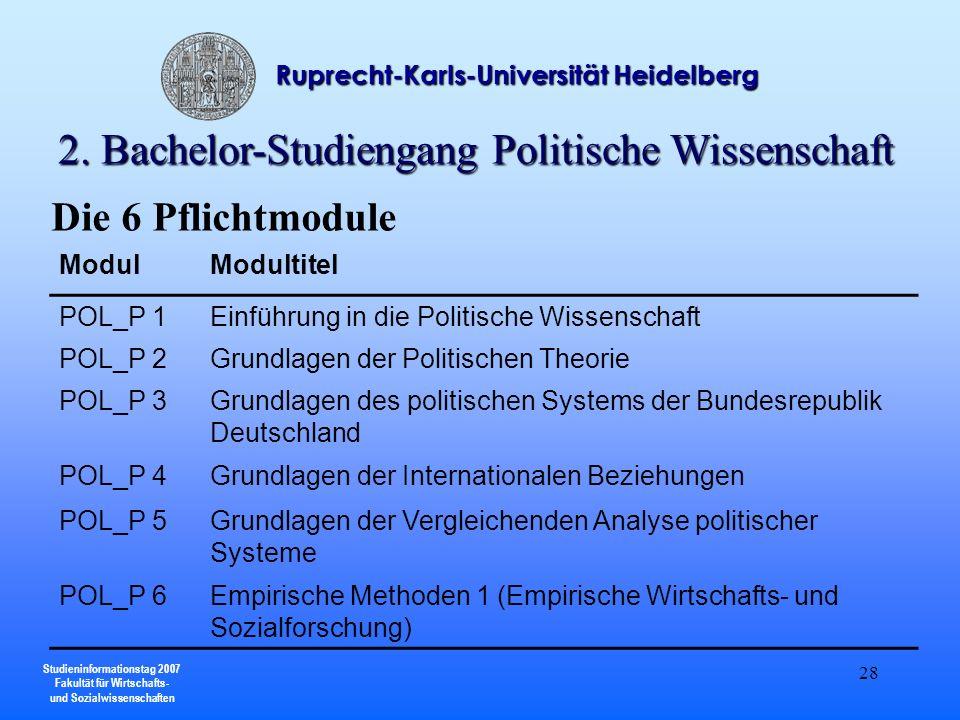 Studieninformationstag 2007 Fakultät für Wirtschafts- und Sozialwissenschaften Ruprecht-Karls-Universität Heidelberg 28 ModulModultitel POL_P 1Einführ