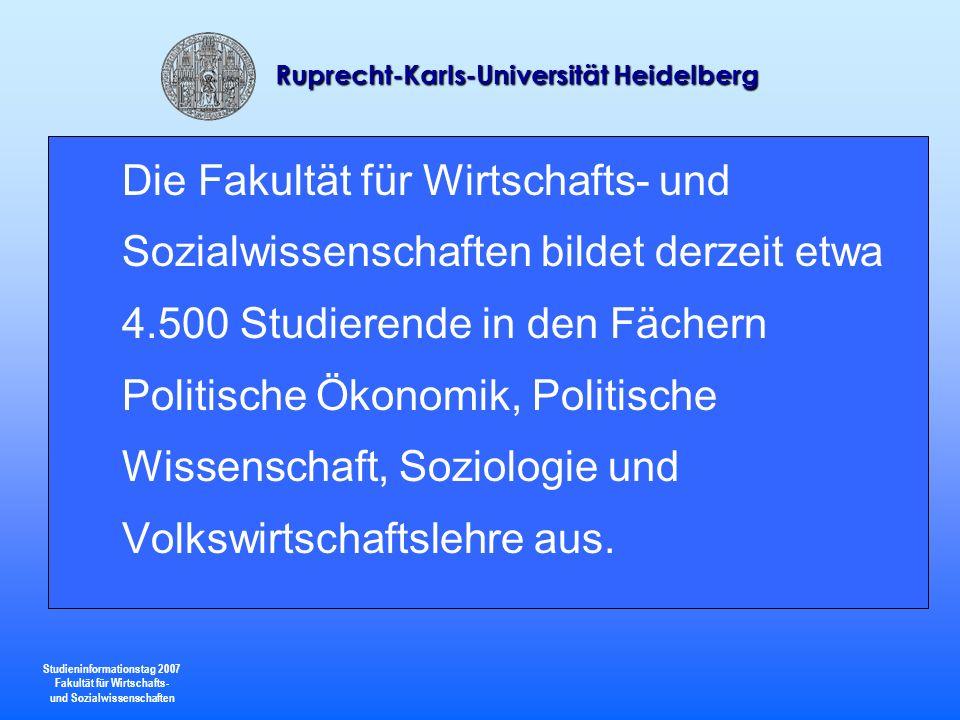 Studieninformationstag 2007 Fakultät für Wirtschafts- und Sozialwissenschaften Ruprecht-Karls-Universität Heidelberg 24 Politische Wissenschaft kann im Rahmen des BA-Studiengangs gewählt werden als: Hauptfach 75% (zusammen mit einem Begleitfach mit Gewichtung 25%) 2.Hauptfach 50% (zusammen mit einem Hauptfach mit Gewichtung 50%) Begleitfach 25% ( zusammen mit einem Hauptfach mit Gewichtung 75%) Politische Wissenschaft kann mit allen in der entsprechenden Gewichtung angebotenen Fächern kombiniert werden.