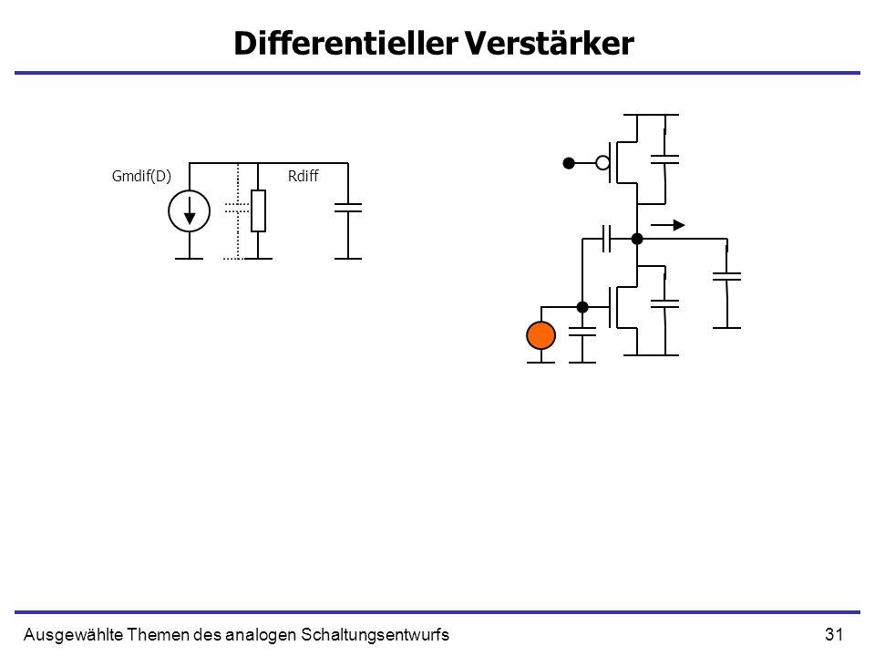 31Ausgewählte Themen des analogen Schaltungsentwurfs Differentieller Verstärker Gmdif(D)Rdiff