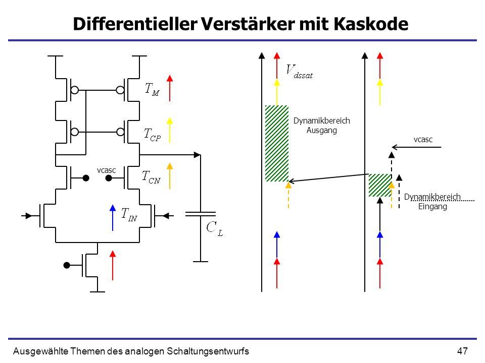 47Ausgewählte Themen des analogen Schaltungsentwurfs Differentieller Verstärker mit Kaskode Dynamikbereich Ausgang Dynamikbereich Eingang vcasc