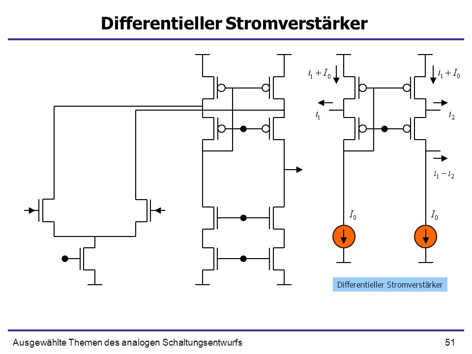 51Ausgewählte Themen des analogen Schaltungsentwurfs Differentieller Stromverstärker