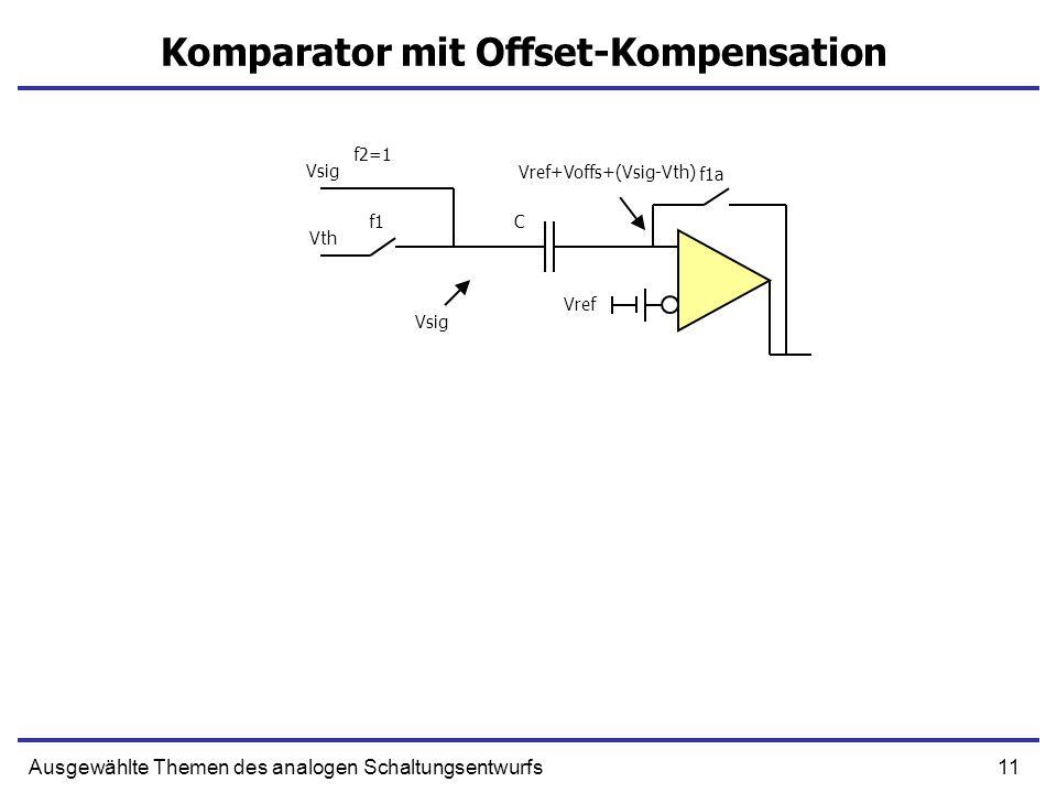 11Ausgewählte Themen des analogen Schaltungsentwurfs Komparator mit Offset-Kompensation Vref Vsig Vth f1a f1 f2=1 C Vref+Voffs+(Vsig-Vth) Vsig