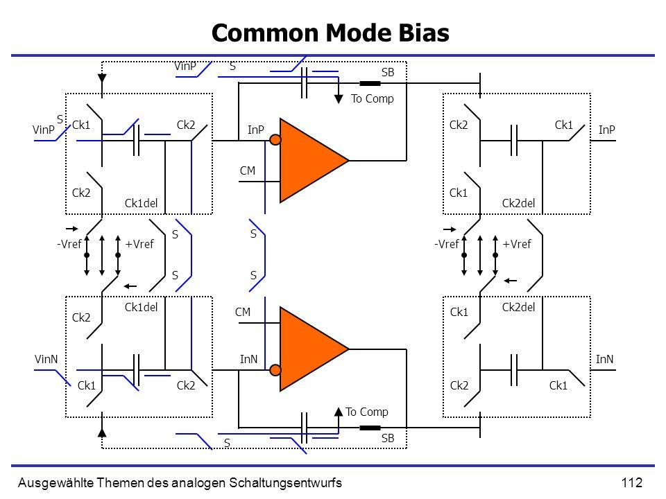 112Ausgewählte Themen des analogen Schaltungsentwurfs Common Mode Bias VinP Ck1 Ck2 -Vref+Vref Ck2 Ck1del VinP S S SB InP Ck2 Ck1 Ck2del S InP -Vref+V