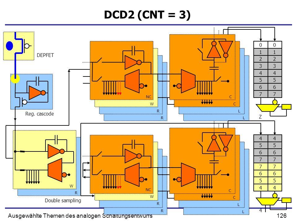 126Ausgewählte Themen des analogen Schaltungsentwurfs DCD2 (CNT = 3) 0 1 2 3 4 5 6 7 0 1 2 3 4 5 6 7 Reg. cascode Double sampling DEPFET NC W R R C C