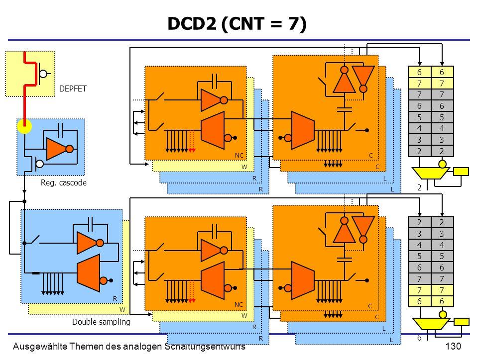130Ausgewählte Themen des analogen Schaltungsentwurfs DCD2 (CNT = 7) Double sampling NC W R R C C L L W R R C C L L Reg. cascode DEPFET R W 77 66 5 4