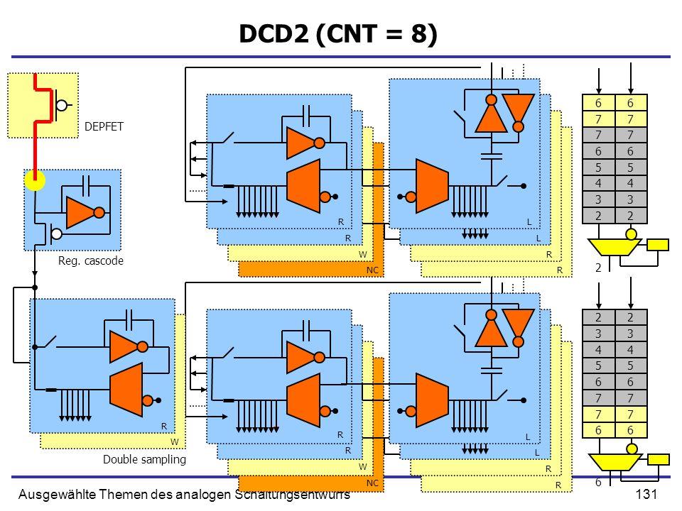 131Ausgewählte Themen des analogen Schaltungsentwurfs DCD2 (CNT = 8) Double sampling R R W NC L L R R R W R L L R R Reg. cascode DEPFET R W 77 66 5 4