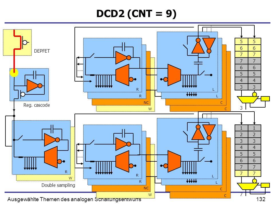132Ausgewählte Themen des analogen Schaltungsentwurfs DCD2 (CNT = 9) Double sampling R R NC W L L C C R W R L L C C Reg. cascode DEPFET R W 77 66 55 5